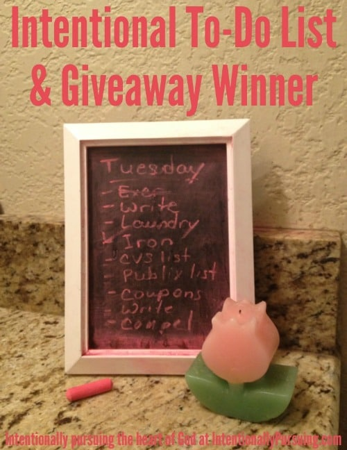 Intentional To-Do List & Giveaway Winner - IntentionallyPursuing.com