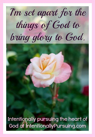 I'm set apart for the things of God to bring glory to God - Seeing Ourselves Through the Eyes of God - IntentionallyPursuing.com